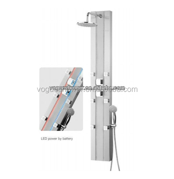 two color led light stainless steel rainfall shower panel 9707 color change led shower panel