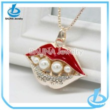 Hot sale fashion big mouth long pendant jewelry pearl red lips necklace