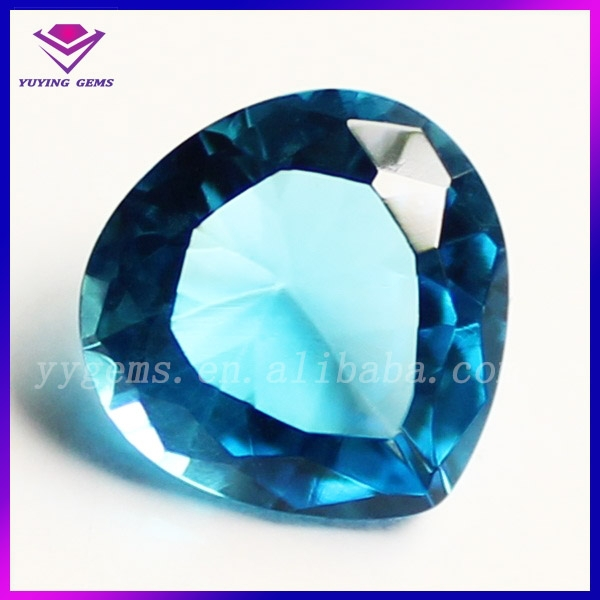 High Quanlity Clarity Blue Technology Machine Cut Pear Craft Glass Beads Stone