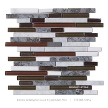 Glossy Crystal Glass Mix Carrara&Babylon Gray Marble Stone Free Strip Mosaic Tiles Pattern