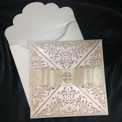 2015 laser cutting invitation cards of wedding .with silk ribbon or customized