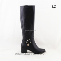 LQEB27 low heel women large sizes high quality big size leather upper knee boots