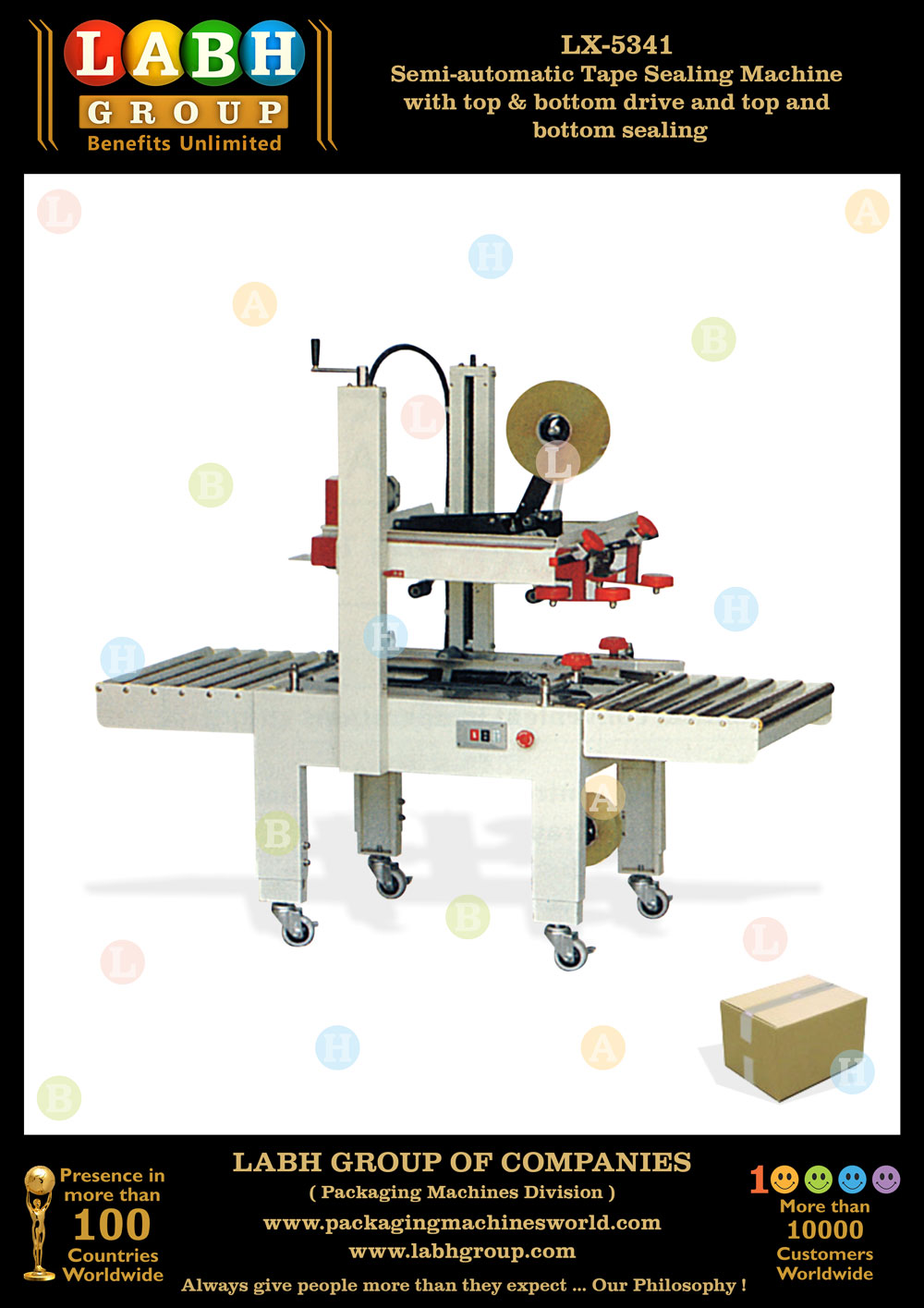 Semi-automatic Tape Sealing Machine with top & bottom drive and top and bottom sealing
