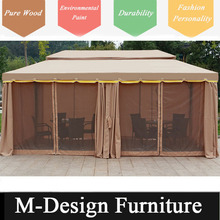 Luxury villa steel garden gazebo with flat roof and curtain