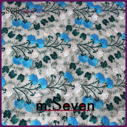 New Arrival Allover 3 Colors Flowers Tulle 3D Embroidery Fabric for Dress