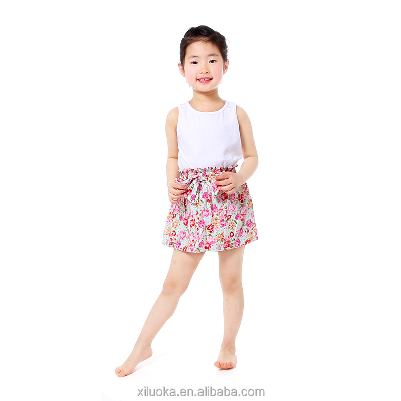 Kids cotton white tank top with floral skirt set wholesale summer children's boutique clothing