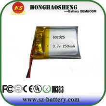 Good performance rechargeable 602025 RC model li-polymer battery 3.7v 250mah for RC car