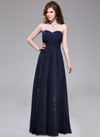 A-Line/Princess Sweetheart Floor-Length Chiffon Sequined Prom Dresses With Ruffle
