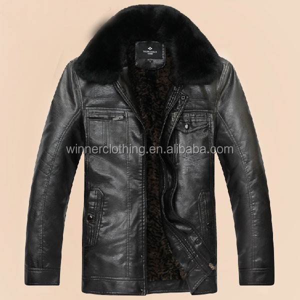 2014 fashion Men black mens winter PU leather coat with fur collar
