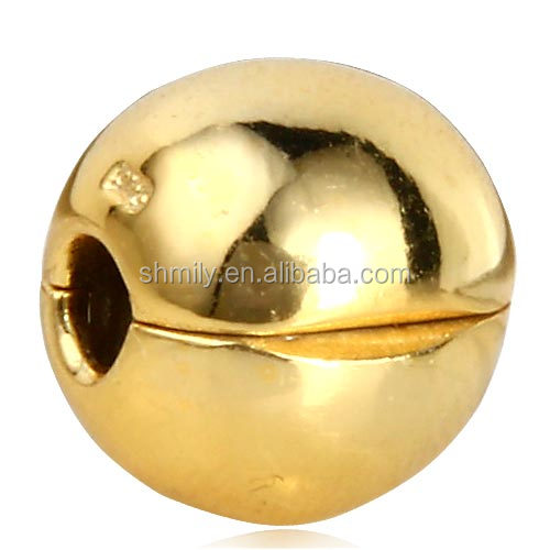 18K Gold Plated Smooth Round Authentic 925 Sterling Silver Lock Clip European Charm Stopper Beads For DIY Charm Jewelry SCSB020