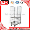 4 sides collapsible wire mesh roll trolley contianer
