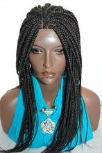 "Fully hand braided lace front wig - Anita color dark brown in 18"" Box braid"