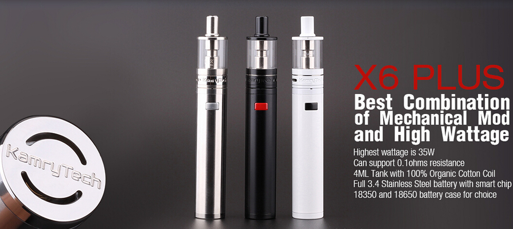 New pen style 18650 mech vaporizer mod ecig kit kamry x6 plus vapor cigar from shenzhen