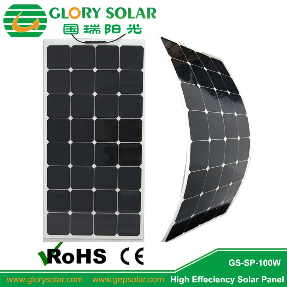 18V 24V Top Quality Bendable ETFE High Efficiency Sunpower Cell Semi Flexible Solar Panel 80W 100W 120W OEM available for Boat