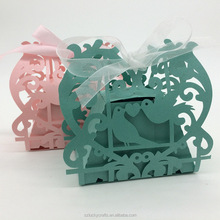 2016new Green,Pink Love Birds Laser Cut Wedding Paper Candy Box with Ribbons chocolate favour box baby shower birthday