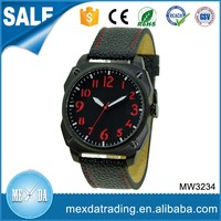 High quality stainless steel case black color classic leather watches for men