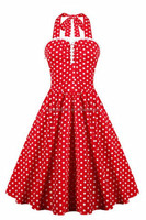 MIKA6010 Women Sexy Vintage Style Ruffled Polka Dot Halter Dress