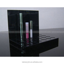 24 slot Slanted High gloss black acrylic lipstick holder, Black lip gloss display rack, Counter lip balm Stands