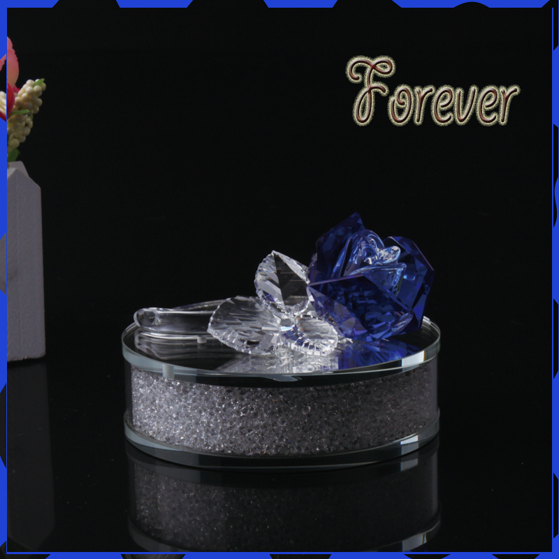 Hot selling Blue Crystal Rose Flower with Diamond base For Birthday Gifts