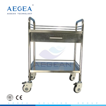 AG-SS040C wholesale with one drawer multi-purpose stainless steel medical hospital trolley manufacturer