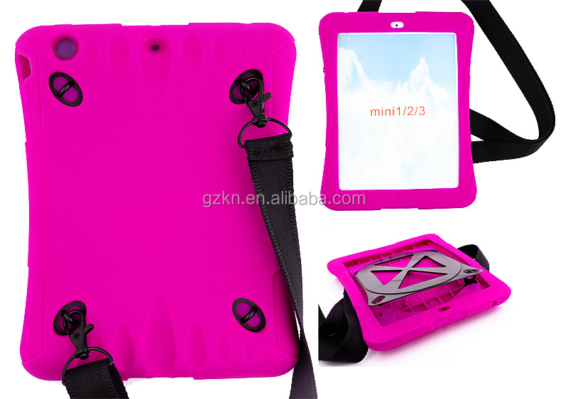 Shoulder strap soft silicone case for iPad mini mini 2 outside using