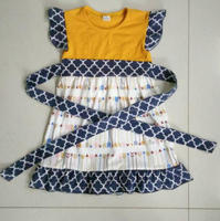 newest childrens summer cap sleeve arrow dress with belt
