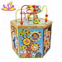 New Hottest six in one educational large wooden activity cube for babies W11B154