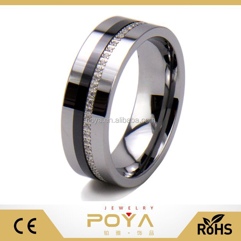 POYA Jewelry 8mm Silver Tungsten Carbide Ring Men's Wedding Band High Polish Flat Top and Cubic Zirconia Inlay