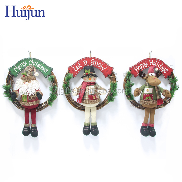 OEM Santa Snowman Deer Christmas wreath Wall Hanging Decoration for Party Holiday Supplies