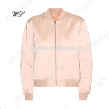 Polyester satin woman varsity jacket, custom tailored bomber jacket clothes women