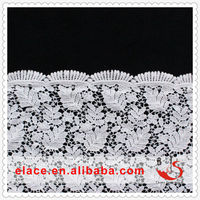 Silver Scalloped Edges Cotton Guipure Floral Leaves Patterns Lace Fabric by the yard Wedding Bridal Craft Lace Material