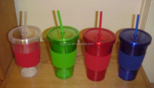 BPA FREE Double Wall Acrylic Promotional Tumbler with Straw/Plastic Double Wall Straw Cup/wholesale acrylic tumblers