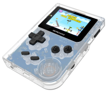 Black translucent mini handheld game console with Original display Barrier-free connection between lattice of LCD