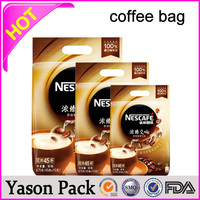 Yason bottom gusset bags for coffee bean eco-friendly three side seal coffee pouch euro slot plastic coffee bean packaging bags