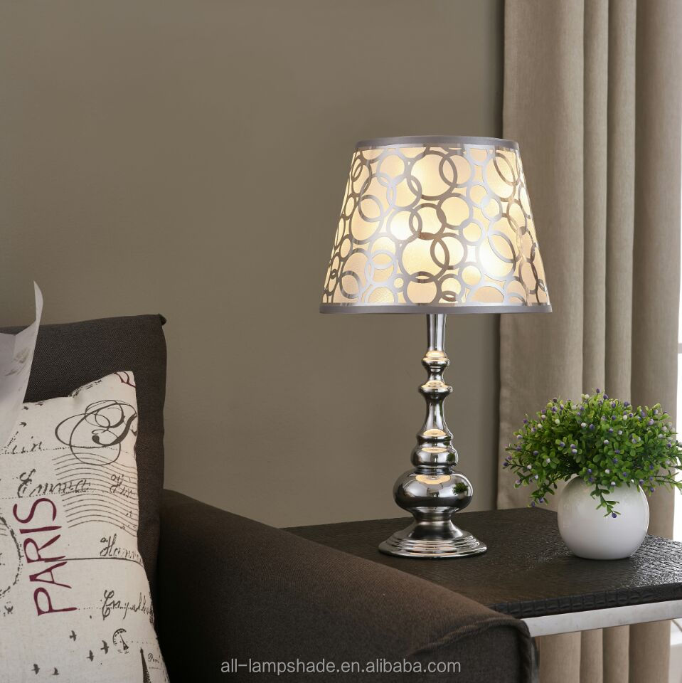 Lazer cutting transparent PVC lampshade with circles applied in table lamp floor lamp