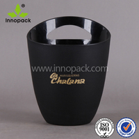 matt black printed PS plastic ice bucket wine cooler with handle