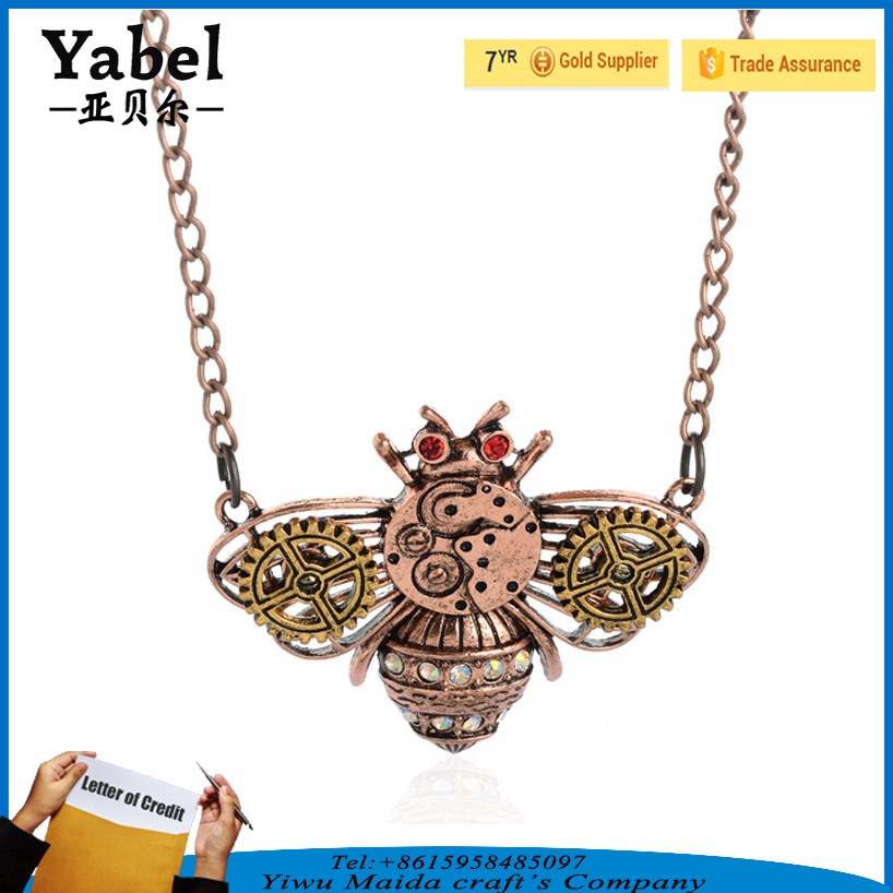 Wholesale Gothic Bee Pendant Gear Steampunk Necklace Jewelry