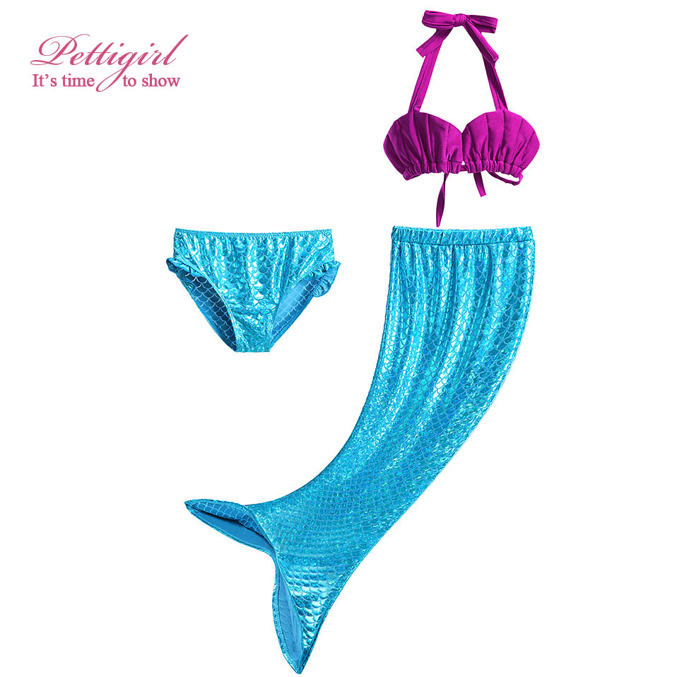 Latest Design Little Girls Shells Cute Swimwear Bikini Bowknot Mermaid Swimsuit Wholesale NBSR90506-16