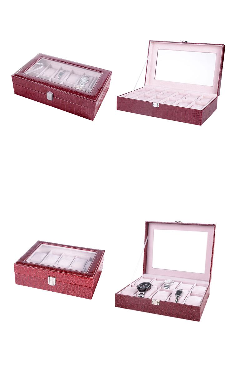 12 Slots Watches Display Box Leather Protective Watch Case with Lock