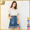 Stock cotton Spandex Frayed midi pencil denim skirt