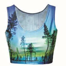 MB037 Sexy round neck woman top, Quality Soft Sexy Woods In Sky Print sleeveless crop tops