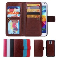 Luxury Design Two Leather Wallet Mobile Phone Case For Samsung Galaxy S5