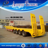 Hydraulic 3 axle low bed trailer lowboy axle , 60 ton to 100 tons low loader trailer truck