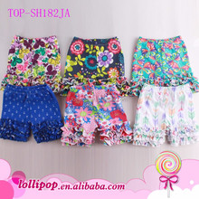 Wholesale Baby Children Girls Bright Floral Print Ruffled Bali Shorts Kid's Knit Cotton Bottoms Toddler Ruffle Icing Shorties