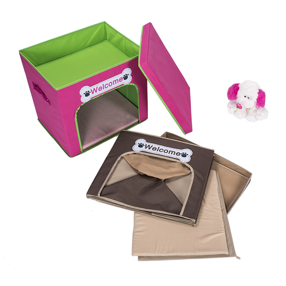 WHOLESALE CUTE PINK POLYESTER FABRIC FOLDABLE STORAGE PET HOUSE FOR DOG AND KITTEN