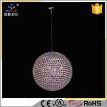 Pink Purple Crystal Ball Lighting Modern Metal Ball Ceiling Hanging Lamp
