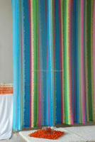 Waffle stripe polyester shower curtain/bath shower with windows curtain
