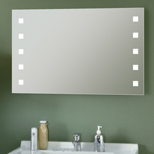 Frameless Wall Mount Touch Screen Dot Lighted Bathroom Vanity Mirror with Clock
