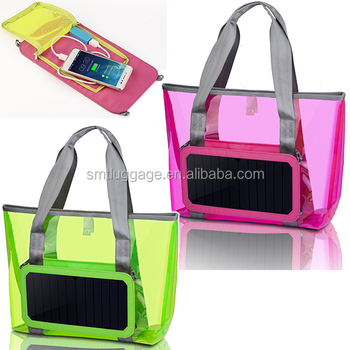 2016 Great PVC nylon material beach hand bag with portable solar panel.