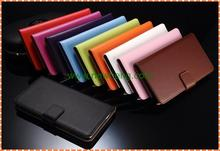 Hot selling plain grain wallet flip genuine leather case for iphone 6S plus
